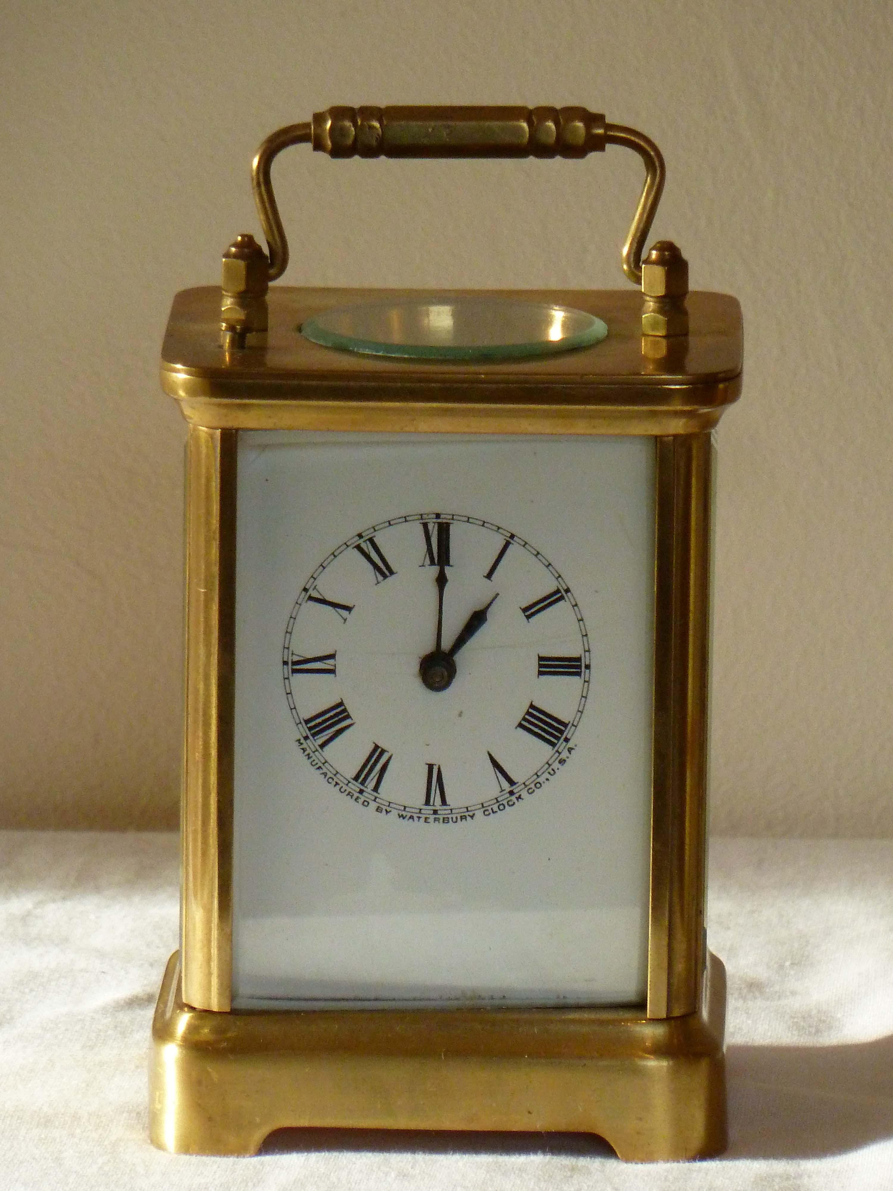 Brass American Carriage Clock Alarmed Mantel Bracket