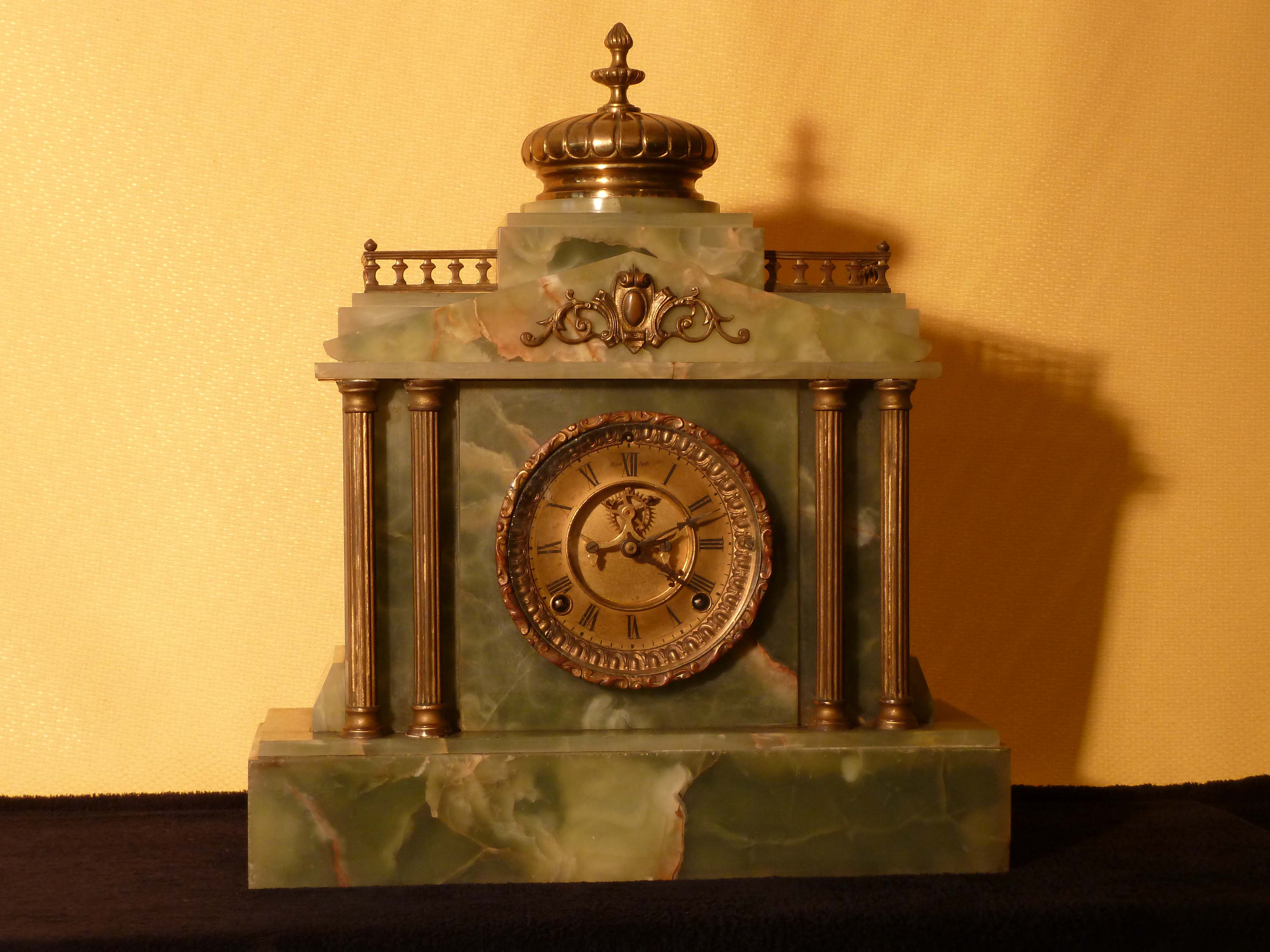 Antique onyx mantel clock