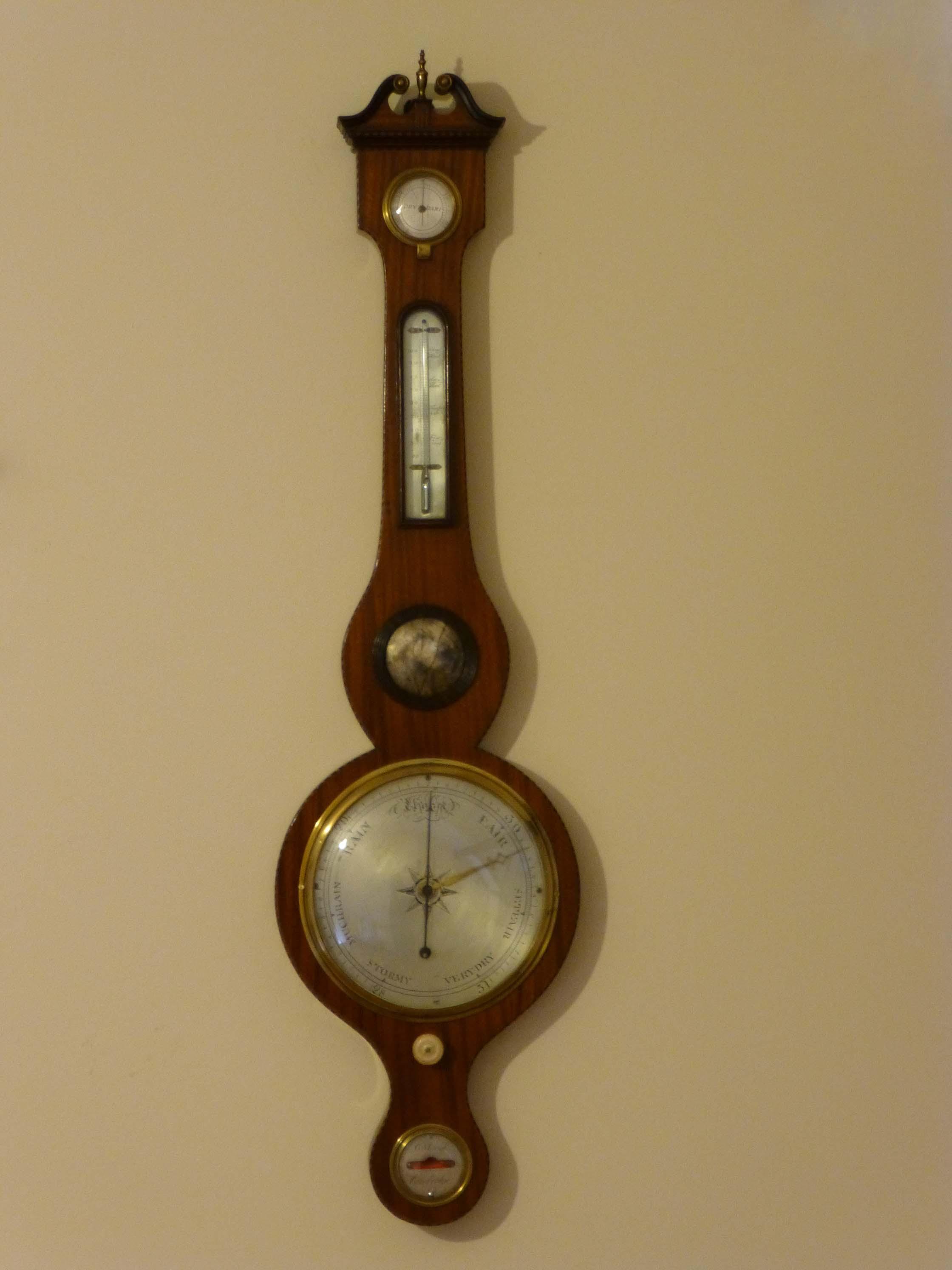 Satinwood Wheel Barometer Antique Weather Barometer Old