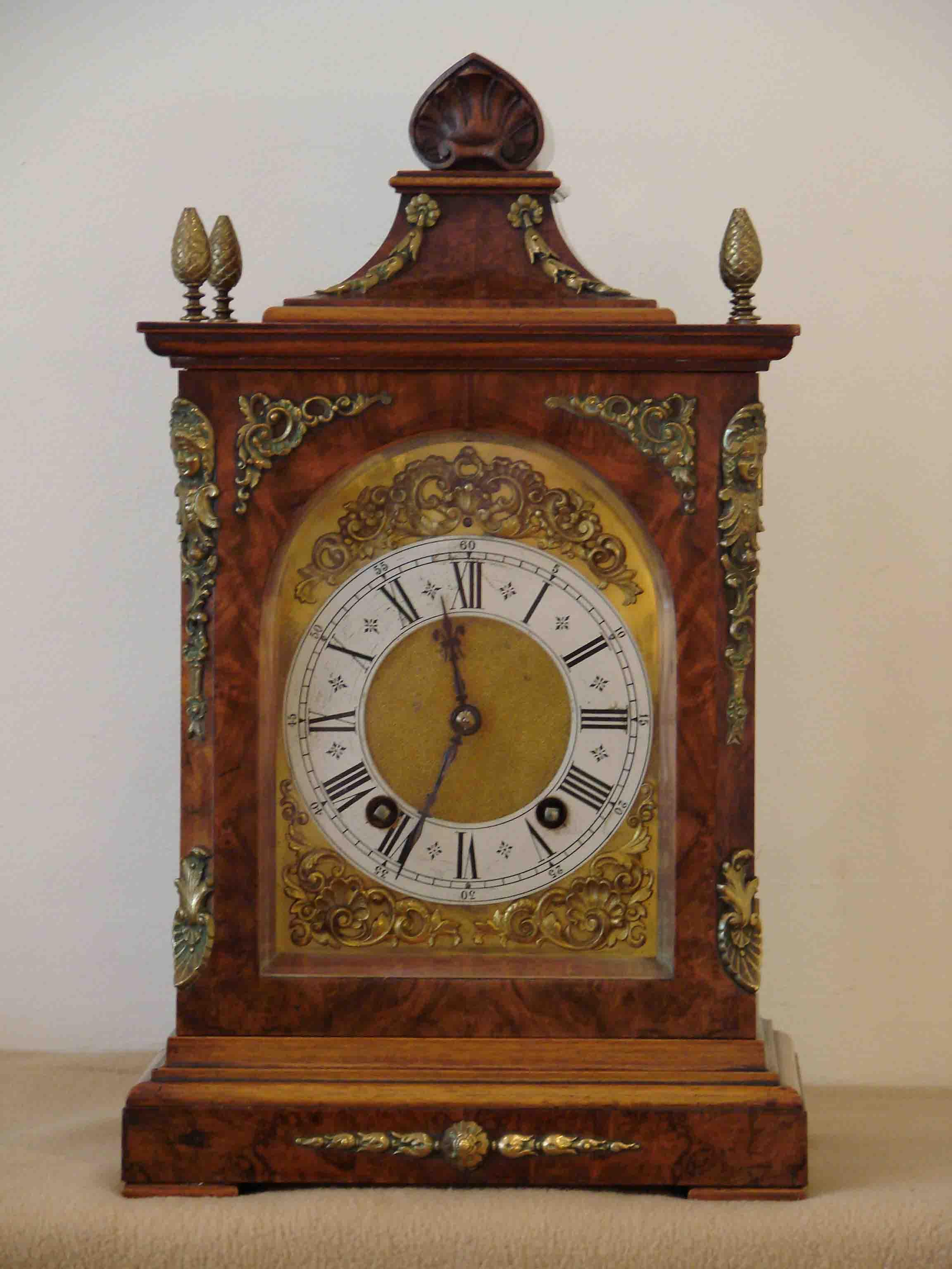 Burr Walnut Bracket Clock Lenzkirch Urenfabrik Badenia